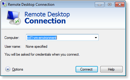 Starting Remote Desktop session